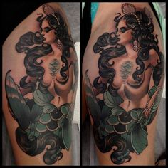 Mermaid Tattoo by Emily Rose Murray Emily Rose, Traditional Tattoo Woman, Traditional Tattoo Flowers, Traditional Tattoos, Traditional Japanese, Body Art Tattoos, I Tattoo, Cool Tattoos, Tattoos