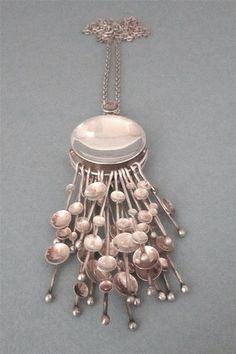 Kultateollisuus Ky, Finland - large modernist silver 'kinetic fireworks' necklace, 1970