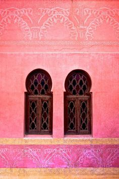 Two windows, Marrakech, Morocco--Painted in an enchanting salmon pink, Marrakech is fondly referred to as the 'Rose City' or 'Red City' (the love assembly) Beautiful World, Beautiful Places, Amazing Places, Rose City, Foto Art, Moroccan Style, Moroccan Colors, Color Inspiration, Travel Inspiration