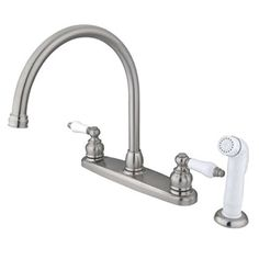 Victorian Double Handle Centerset Goose Neck Kitchen Faucet with Porcelain Lever Handles and White Side Spray Finish: Oil Rubbed Bronze - Touch On Kitchen Sink Faucets - Amazon.com