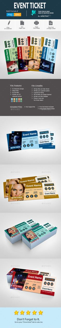 Ticket Graphics, Illustrators and Ai illustrator - concert ticket template free download