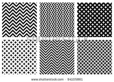 Set of 6 monochrome elegant seamless patterns - stock vector