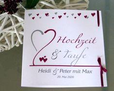 Einladungskarte zur Hochzeit mit Taufe