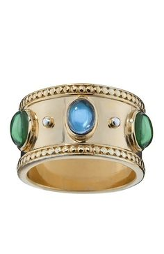 Temple St. Clair Rings   thumbs gold wide band ring blue green Temple St. Clair for Target ...