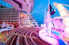 Oasis of the Seas. Watch as water acrobats dive from 60 feet above the deck at the nightly AquaTheater shows.