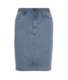 Polka dot denim pencil skirt