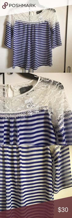 "Anthropologie Sunday In Brooklyn Stripes & LaceTop NWT! Gorgeous Anthropologie Sunday In Brooklyn Stripes & Lace Chiffon Top. Soft and ethereal polyester. Semi sheer. Bust 38"", length 26"". Spring, summer, boho, gypsy, Soho, hippie,  nautical, classic, preppy. Tops Blouses"