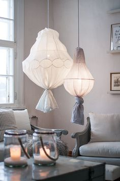 Parolan Asema - linen chandelier diy
