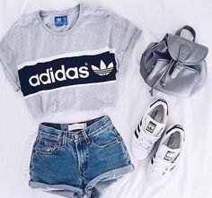 Waist Jeans tshirt Shirt: adidas t- top addidas grey t- denim shorts adidas top crop tops shorts hi. Shirt: adidas t- top addidas grey t- denim shorts adidas top crop tops shorts high waisted shorts Teen Fashion Outfits, Mode Outfits, Fall Outfits, Summer Outfits, Trendy Fashion, Fashion Clothes, Fashion Women, Fashion Spring, Cute Casual Outfits For Teens