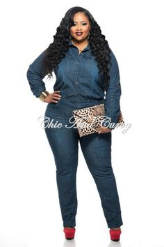 f6f35d0325b 50% Off Sale - Final Sale Plus Size Dress with Cowl Neck and Long Sleeves  in Blue. Plus Size Denim JumpsuitJeans JumpsuitDenim RomperPlus ...