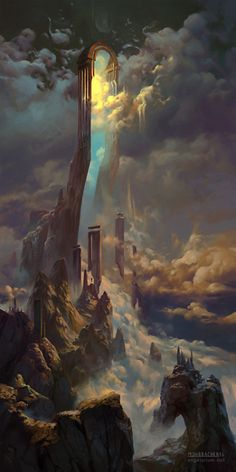 Peter Mohrbacher is an artist working on a fantasy project called Angelarium - The art and themes are beautiful but scary, leaving you with a feeling of wonder. This piece is named 'The Gate of Sahaqiel' - Fantasy - Art Fantasy Places, Fantasy World, Fantasy City, Elves Fantasy, Space Fantasy, Fantasy Concept Art, Dark Fantasy, Fantasy Artwork, Fantasy Setting