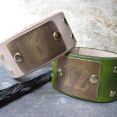 Custom lucky number etched brass leather cuff  by WhyitsmeDesign.etsy.com