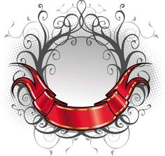 RED ORNATE TITLE RIBBON VECTOR