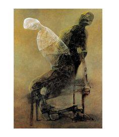 Kunstenaar: Zdzisław Beksiński | Stroming: Surrealisme. | Dit is een apart schilderij, ik heb het gevoel alsof het iets duivels heeft. Dat komt vooral omdat een witte schim uit het zwarte schim te voorschijn komt.Ook door het kleur gebruik; licht-donker contrast. Ik heb ook daarom dit schilderij in mijn artistieke familie toegevoegd, het is iets anders dan 'normaal'. Je zou dit schilderij kunnen definiëren als een ziel dat het lichaam verlaat.
