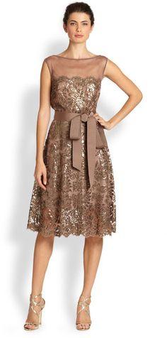 Tadashi Shoji Belted Sequin Dress - Lyst