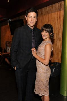 Glee stars Cory Monteith and Lea Michele attend Fox 2012 Programming Presentation. Lea is wearing Pucci.