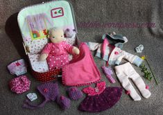 """Maura - 11"""" Waldorf baby doll in her home in suitcase by #Tulale"""