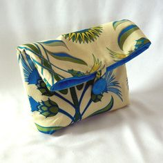Floral Clutch Purse Makeup Bag Yellow Blue by ColleensDesigns, $16.00