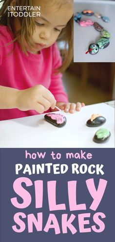 Check out this super fun activity where you can mix and match painted rocks to makes bugs and snakes and anything else you can think of. Our girls had a blast with this one! Activities To Do With Toddlers, Activities For 1 Year Olds, Rainy Day Activities, Indoor Activities For Kids, Preschool Activities, Indoor Play, Toddler Play, Painted Rocks, Entertaining