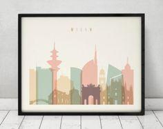 Milano print, Poster, Wall art, Italia cityscape, Milan skyline, City poster, Typography art, Home Decor, Digital Print, ArtPrintsVicky.