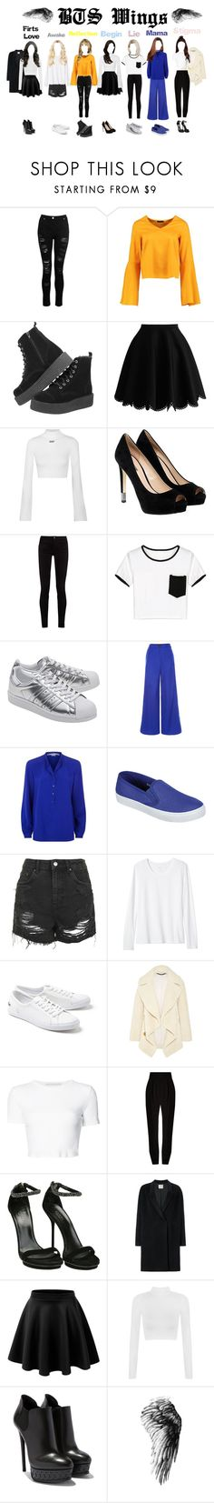 """""""BTS Wing's Solo Songs"""" by kpoplover-dxxix ❤ liked on Polyvore featuring Dorothy Perkins, Boohoo, Off-White, GUESS, Gucci, WithChic, adidas Originals, Judy Wu, STELLA McCARTNEY and Topshop"""