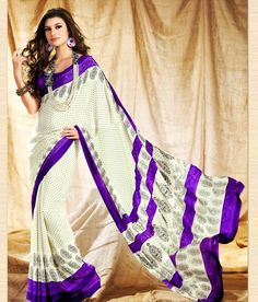 19% Off on Aalya Cream & Purple Wonderful Print Saree With Unstitched Blouse