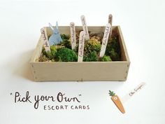 """pick your own"" escort cards. adorable!!"
