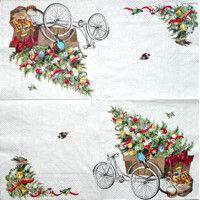 Servítka - Bicykel a vianočný stromček