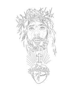 Jesus Tattoo, D Tattoo, Tattoo Drawings, Tattoo Stencils, Stencil Art, Half Sleeve Tattoos Designs, Tattoo Designs, Jesus Christ Drawing, Tattoo Patterns