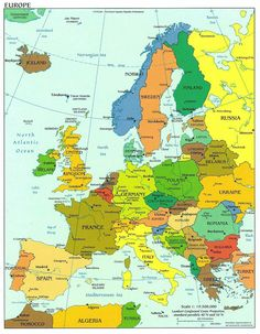 Europe detailed political map with capitals. Detailed political map of Europe with capitals. Geography Map, Teaching Geography, World Geography, Albania, Continent Europe, Pays Francophone, Country Maps, Backpacking Europe, Travel Europe
