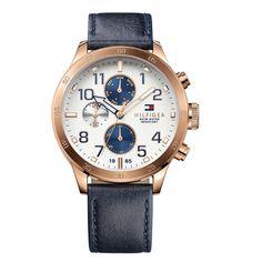 Relógio Masculino Tommy Hilfiger Aço Dourado e Couro Azul Marinho.  1791139.Vivara Relogio Social fcc676f4417