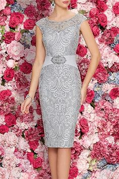 Mother Of The Bride Dresses Tea Length Two Pieces With Jacket Gray sexy dress - Cute Mother of the groom dress for the perfect wedding ceremony, be dress like a queen! Mother Of Groom Dresses, Mothers Dresses, Mother Of The Bride, Bride Dresses, Elegant Dresses, Pretty Dresses, Beautiful Dresses, Tea Length Dresses, Plus Size Dresses