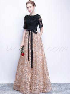 Black Prom Dresses A-line Half Sleeve Long Prom Dress Sexy Evening Dress Short Sleeve Prom Dresses, Black Prom Dresses, Prom Party Dresses, Sexy Dresses, Fashion Dresses, Dress Prom, Bride Dresses, Gown Dress, Dress Lace