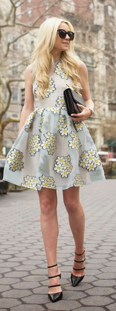Spring street fashion chic /karen cox. Flowers Showers Outfit Idea by Atlantic - Pacific