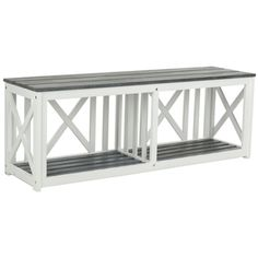 Safavieh Branco White/ Grey Outdoor Bench | Overstock.com Shopping - The Best Deals on Outdoor Benches