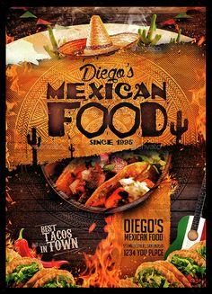 Buy Mexican Food Menu by MonkeyBOX on GraphicRiver. Broucher Design, Food Graphic Design, Food Menu Design, Food Poster Design, Restaurant Menu Card, Restaurant Menu Design, Mexican Food Menu, Mexican Food Recipes, Tacos Menu
