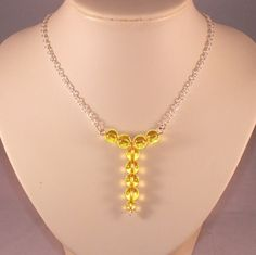Sterling Silver Necklace With Yellow Swarovski Crystal Globes