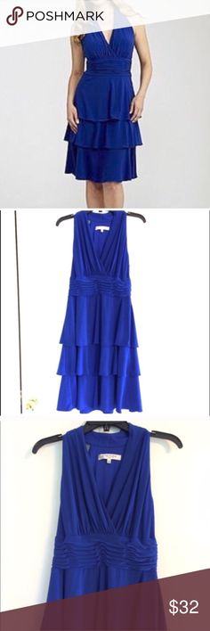"""Evan Picone Royal Blue Cocktail Dress Size 6. Beautiful royal blue cocktail dress by Evan-Picone. Worn once to a wedding. Tiny pull on front top tier of skirt. Armpit to armpit is 17"""".  Waist is 14"""" unstretched. Length is 38"""". Evan Picone Dresses"""