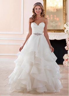 Exquisite Organza Satin Sweetheart Neckline A-Line Wedding Dresses With Belt & Ruffles