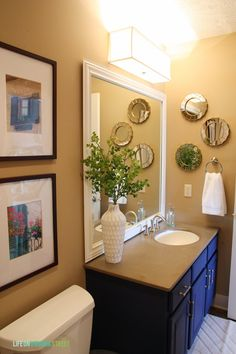 Framing A Bathroom Mirror Before And After ikea grundtal mirror | basement remodeling inspiration | pinterest
