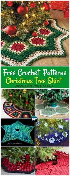 Crochet Christmas Tree Skirt Free Patterns: Tree Skirt Design Snowflake, Granny Square Ripple, Plaid, Hexagon, Star Christmas Tree Skirt Home Decorating  via @diyhowto