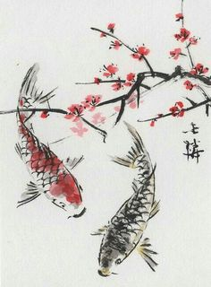 Koi keeping is quickly becoming a very popular hobby in America. Koi are beautiful, vibrant fish that can literally light your day. Koi come in many colors, Japanese Watercolor, Japanese Painting, Watercolor Paintings, Watercolor Japan, Flower Paintings, Sakura Painting, Chinese Painting Flowers, Japanese Wall Art, Watercolours