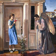 This contemporary rendering of the Annunciation was produced in the summer of 2000 by American artist John Collier: commissioned by St. Gabriel's Church in McKinney, Texas.
