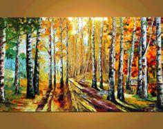 Regalo ORIGINAL impasto pintura al óleo espátula colorido paisaje pintura Parque árboles rojo sol amarillo abedules con textura lienzo Marchella