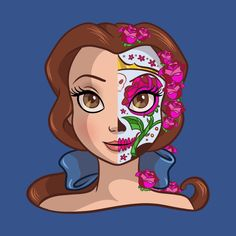 In todays Daily Disney Tee we are taken another look at the Disney Princess Sugar Skull series designed by Ellador. 4 new Disney Princesses has been released. To see even more Disney tees click HER. Disney Princess Belle, Princesa Disney Bella, Bella Disney, Princesse Disney Swag, Disney Girls, Disney Love, Disney Magic, Disney Pixar, Disney Tees