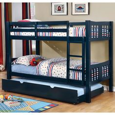 Structured and simple, the Pello Bunk Bed and Trundle Set makes the most of vertical space with its twin over twin design and extra trundle accessory. The attached ladder provides easy access to the guarded top bunk for peace of mind.