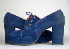 70s Leather Platform Glam Shoes Blue Suede Disco Lace Up Shoes Womens 7.5