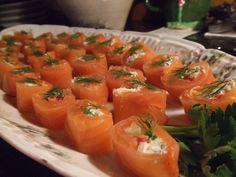 "Smoked Salmon ""Sushi"" from the Sweet Basil blog."