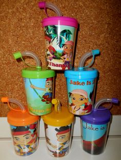 Jake and the Never Land Pirates Do It Yourself Party Favor Cups Personalized With Name Age, DIY Birthday Treat Cups Set of 6, BPA Free