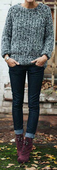 Burgundy Boots + Grey Sweater